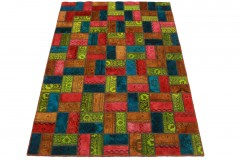 Patchwork Teppich Orange Rot Blau in 210x140cm