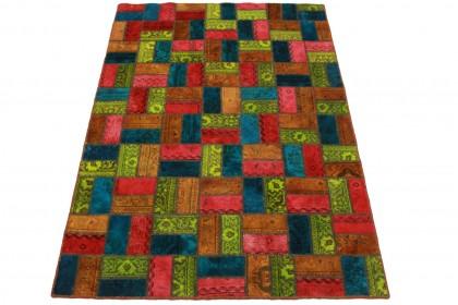 Patchwork Teppich Orange Rot Blau in 210x140cm
