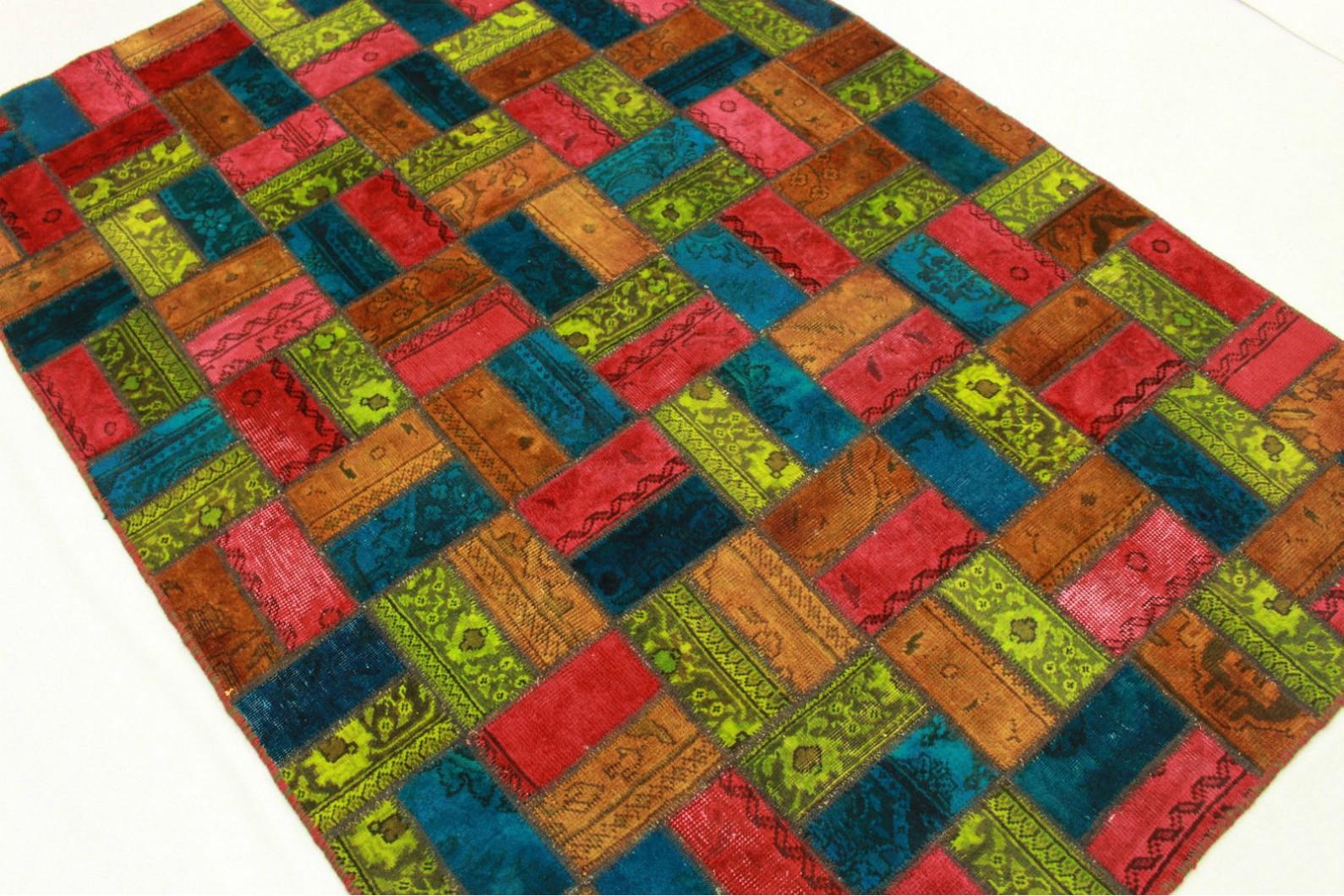 patchwork teppich orange rot blau in 210x140cm 1001 1978 bei kaufen. Black Bedroom Furniture Sets. Home Design Ideas