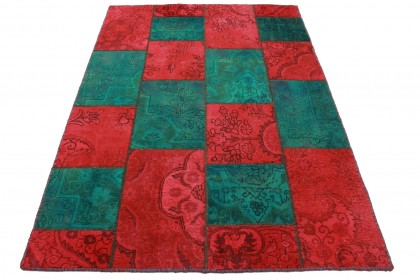 Patchwork Rug Red Turquoise in 200x140cm