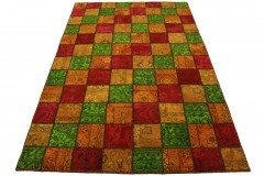 Patchwork Teppich Orange Grün Rot in 240x160cm