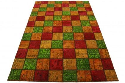 Patchwork Teppich Orange Grün Rot in 240x160cm