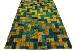 Patchwork Rug Turquoise Curry in 240x160cm