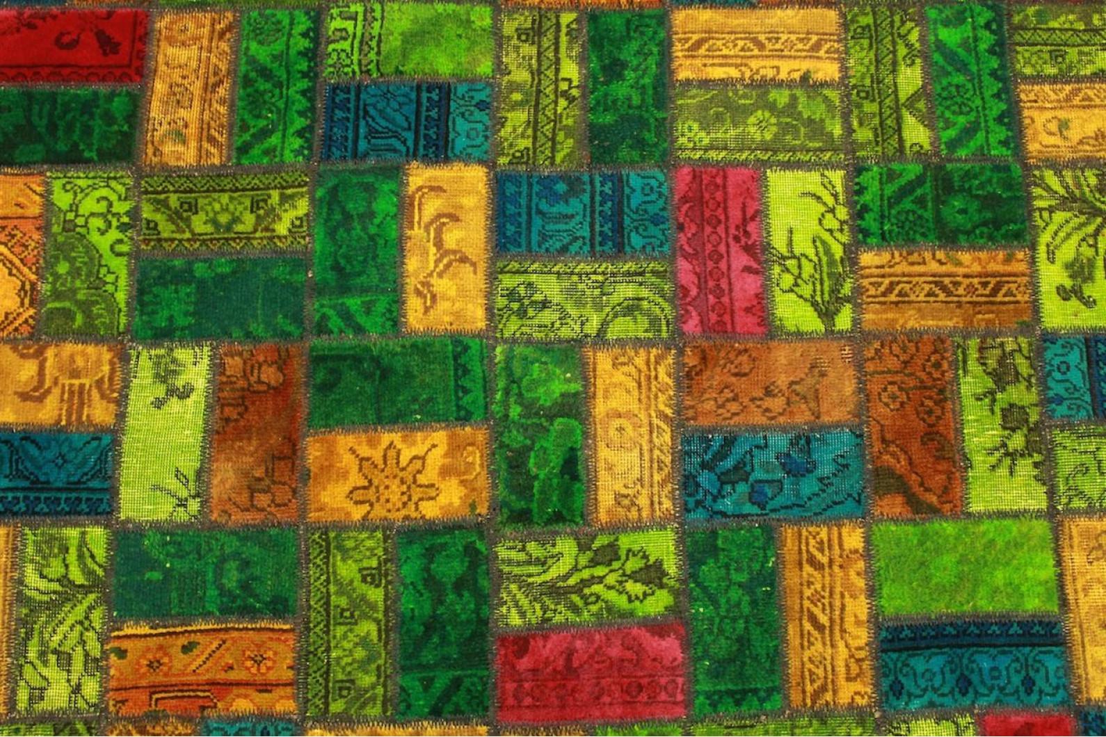 patchwork teppich gr n rot blau t rkis in 250x160cm 1001. Black Bedroom Furniture Sets. Home Design Ideas