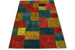 Patchwork Teppich Rot Türkis Gelb in 240x170cm