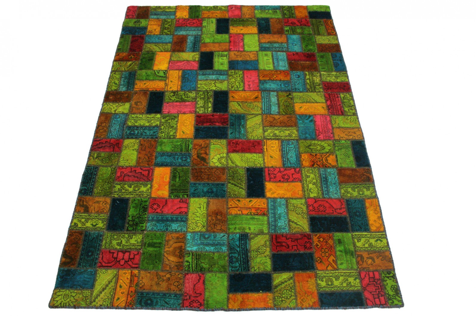 Patchwork Teppich Orange Grün Blau Türkis in 250x160cm (1 / 4)