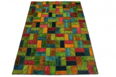 Patchwork Rug Orange Green Blue Turquoise in 250x160cm