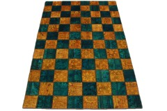 Patchwork Teppich Orange Türkis in 240x160cm