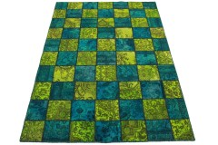 Patchwork Rug Green Blue in 250x170cm