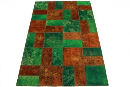 Patchwork Teppich Orange Grün in 240x160cm 1001-2003
