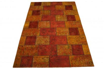 Patchwork Teppich Orange Rot in 300x200cm