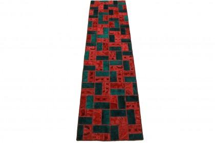 Patchwork Teppich Rot Türkis in 310x80cm 1001-2009