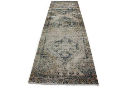 Carpetido Design Vintage-Teppich Läufer Antik Grau Blau in 320x100