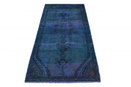 Carpetido Design Vintage-Teppich Blau in 220x110