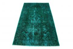 Carpetido Design Vintage-Teppich Grün Türkis in 190x110