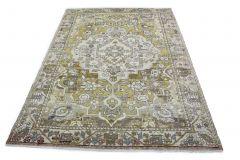 Carpetido Design Vintage-Teppich Gelb Grün Hellgrau in 300x220