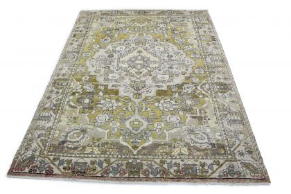 Carpetido Design Vintage Rug Yellow Green Light Gray in 300x220
