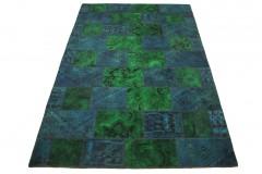 Patchwork Teppich Grün Blau Türkis in 300x200cm