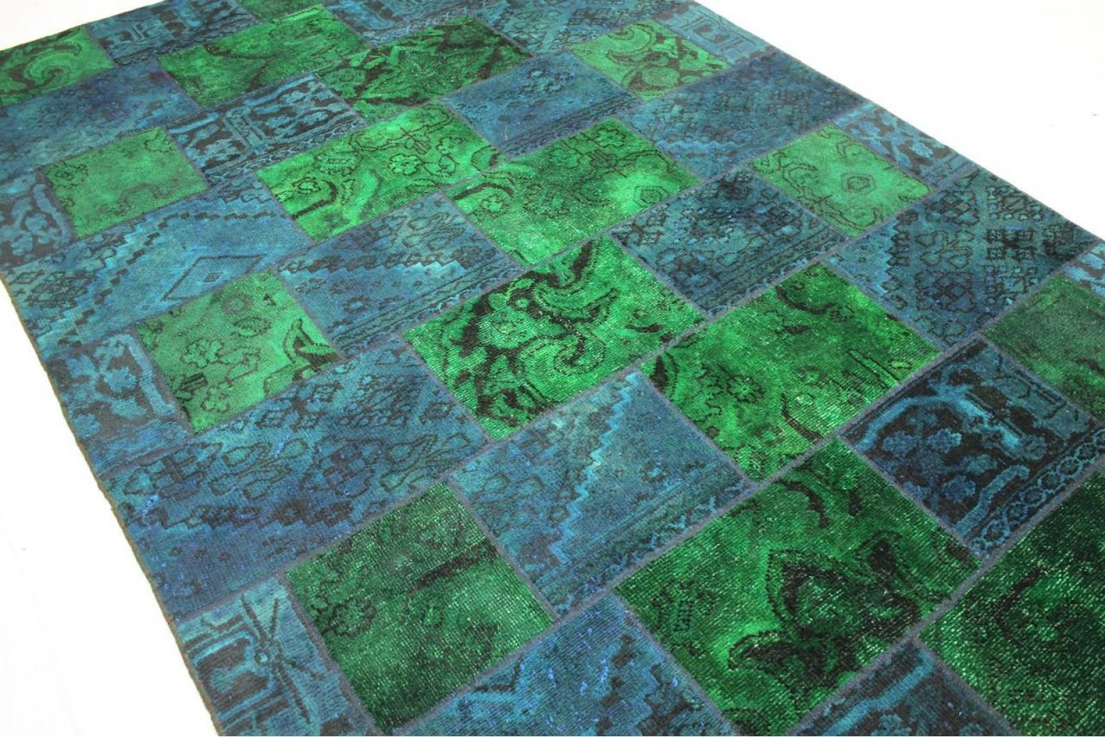 ... Patchwork Teppich Grün Blau Türkis In 300x200cm (3/4)