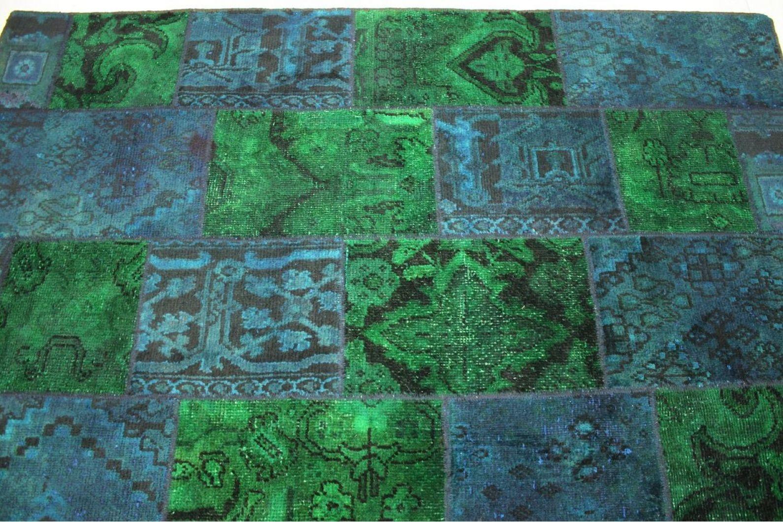 patchwork teppich gr n blau t rkis in 300x200cm 1001 2012. Black Bedroom Furniture Sets. Home Design Ideas