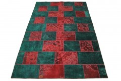 Patchwork Teppich Rot Türkis in 300x200cm