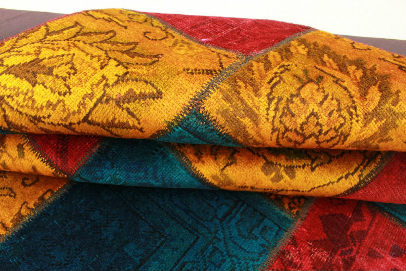 patchwork teppich orange rot blau in 200x150cm 1001 2027 bei kaufen. Black Bedroom Furniture Sets. Home Design Ideas