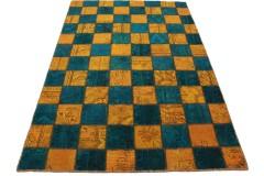 Patchwork Teppich Orange Blau in 240x160cm