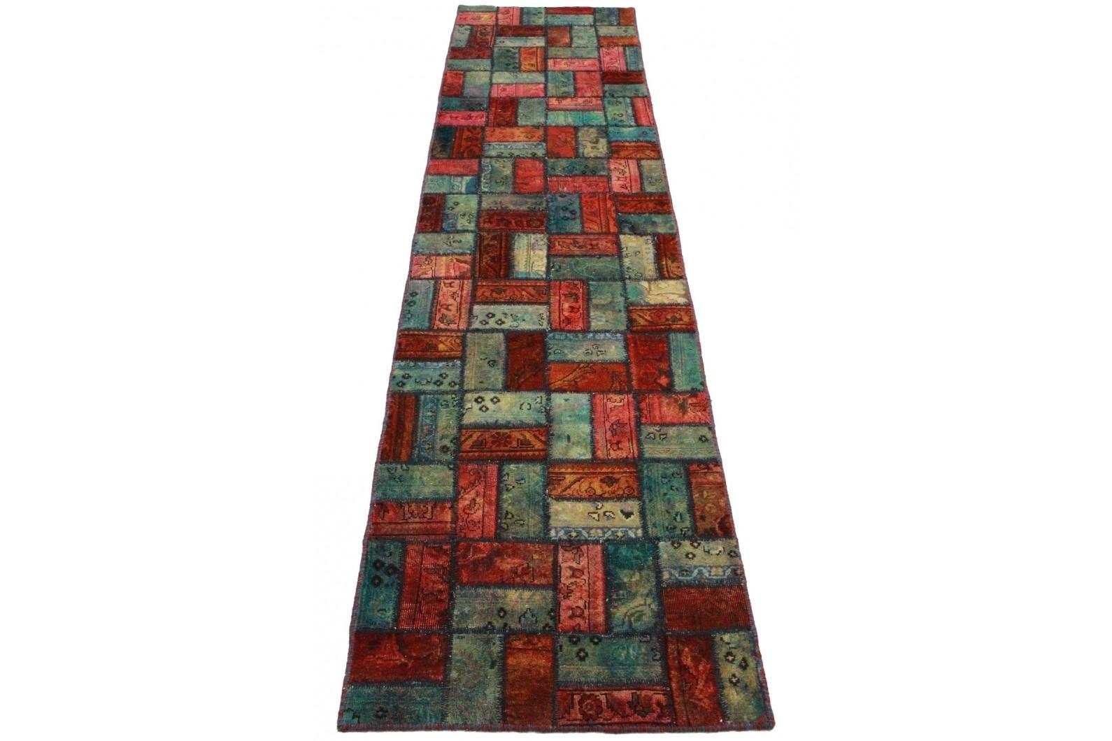 Patchwork Teppich Rot Blau in 310x80cm