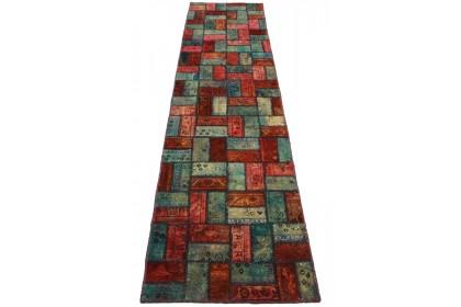 Patchwork Teppich Rot Blau in 310x80cm 1001-2061