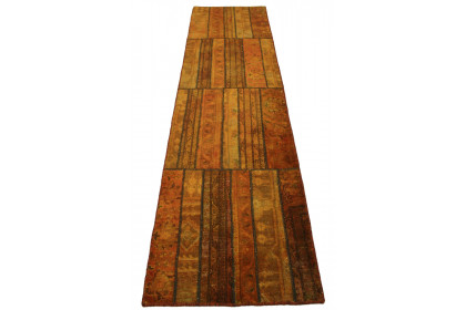 Patchwork Teppich Orange Braun in 300x80cm 1001-2064
