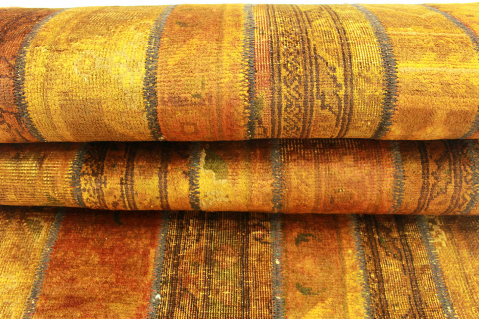 patchwork teppich orange braun in 300x80cm 1001 2064 bei. Black Bedroom Furniture Sets. Home Design Ideas