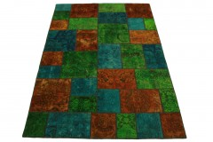 Patchwork Teppich Orange Grün Türkis in 240x160cm