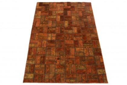 Patchwork Teppich Orange Braun in 250x160cm 1001-2075