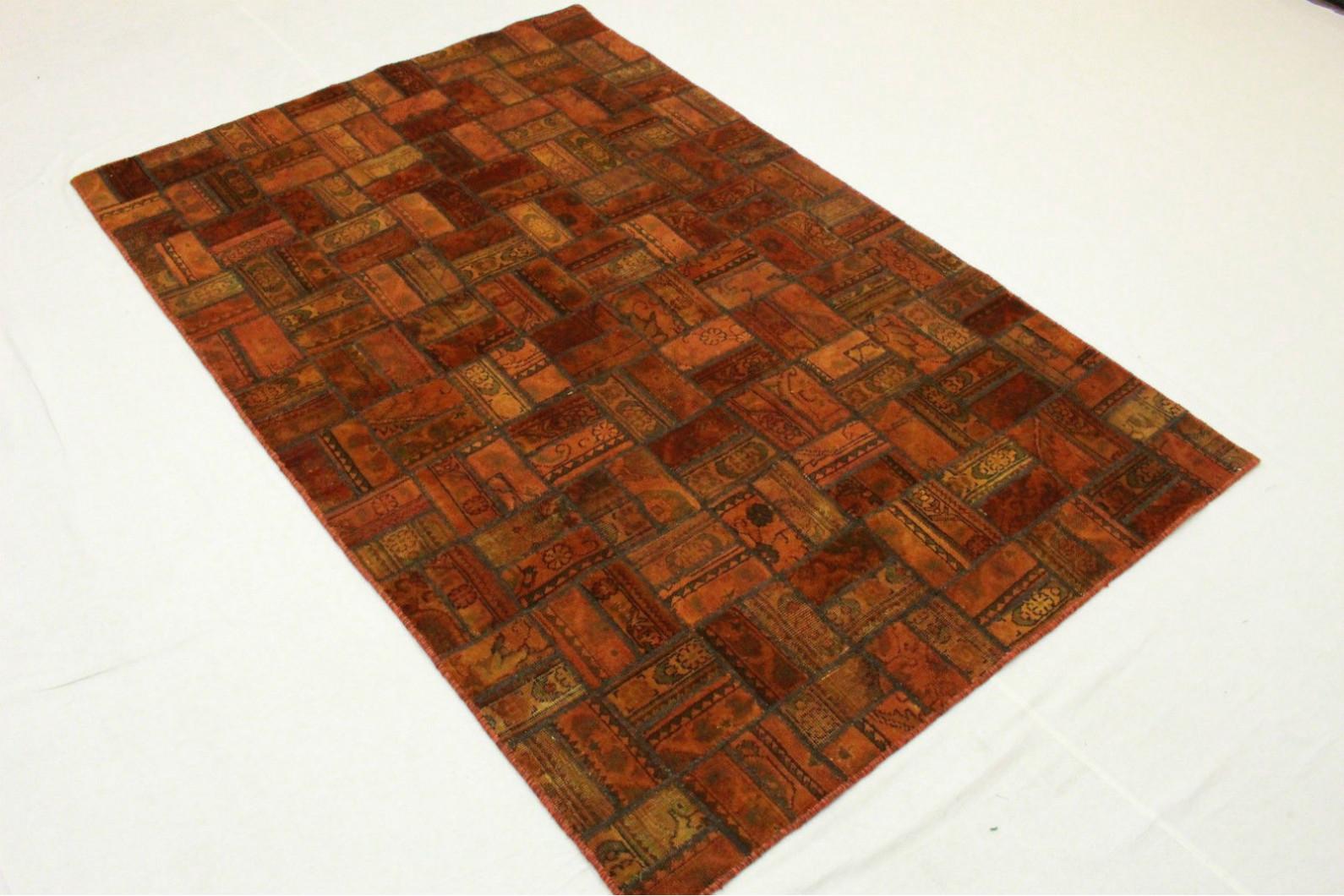 patchwork teppich orange braun in 250x160cm 1001 2075. Black Bedroom Furniture Sets. Home Design Ideas