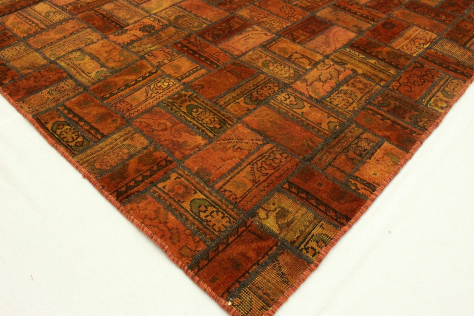 Patchwork Teppich Orange Braun In 250x160cm 1001 2075