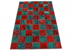 Patchwork Teppich Rot Blau in 200x140cm