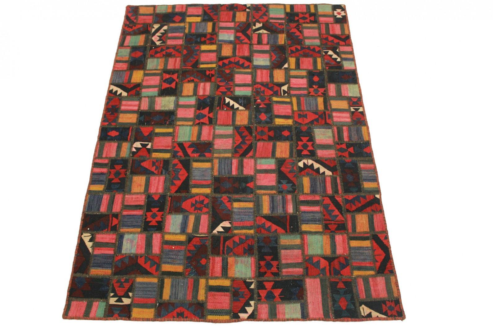 Kelim Patchwork Teppich Rot Rosa in 200x140cm