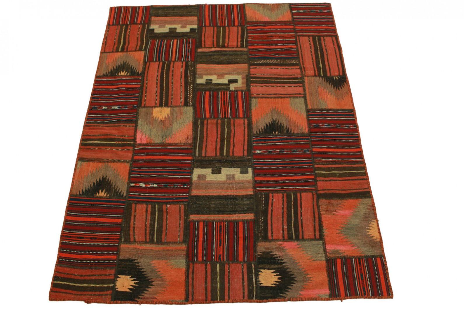 Kelim Patchwork Teppich Rot in 200x150cm (1 / 5)