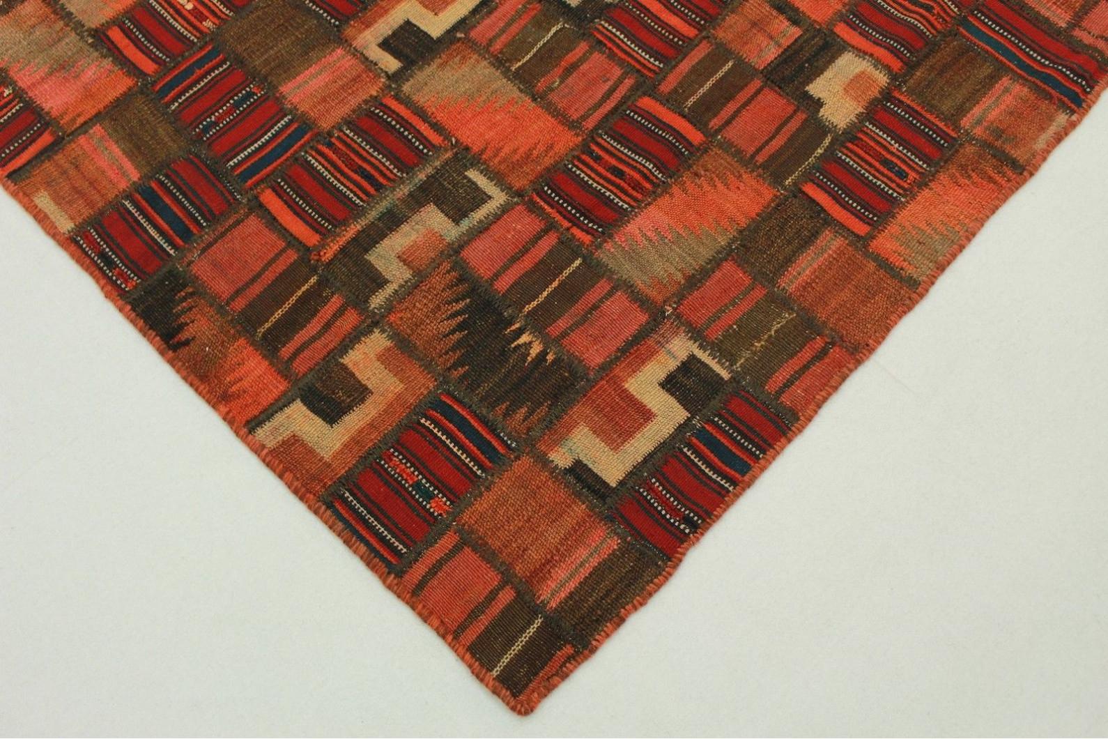 Kelim patchwork teppich braun rot in cm  bei