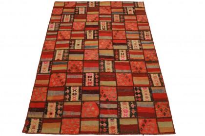 Kelim Patchwork Teppich Rot in 240x160cm