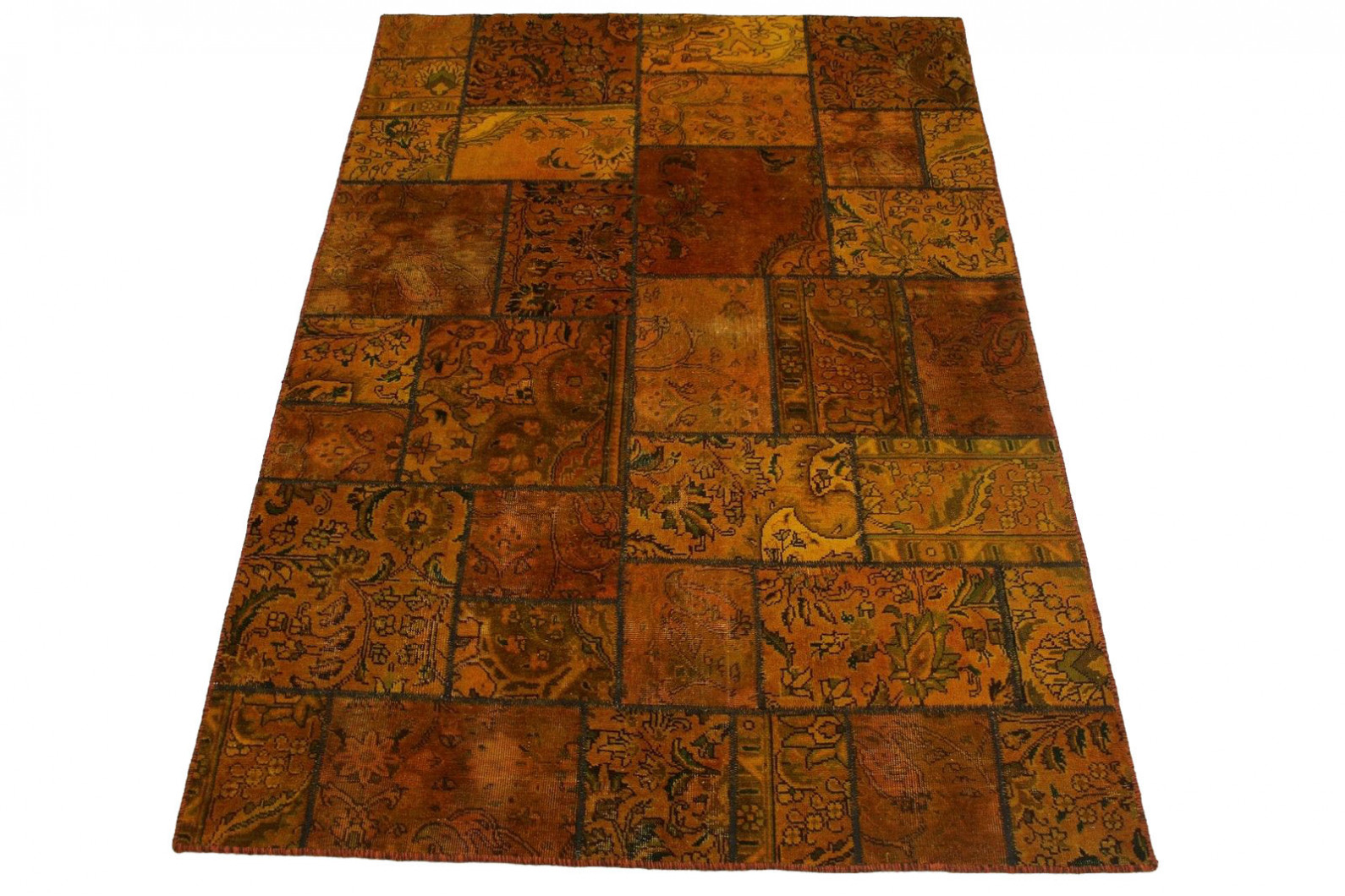 patchwork teppich orange curry in 240x160cm 1001 2154. Black Bedroom Furniture Sets. Home Design Ideas