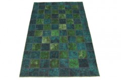 Patchwork Rug Green Turquoise in 250x150cm