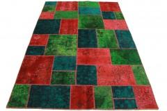 Patchwork Teppich Grün Rot Türkis in 240x160cm