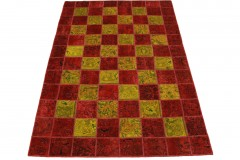Patchwork Teppich Rot Curry in 240x160cm