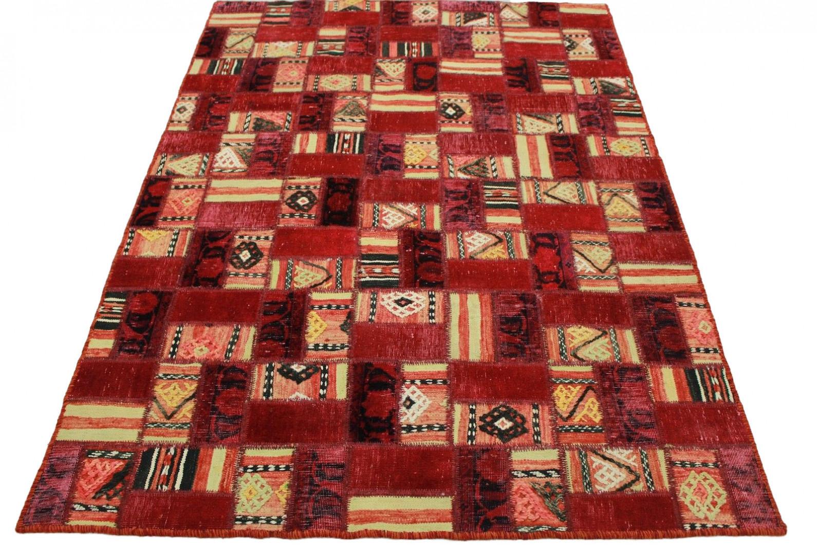 patchwork teppich rot in 200x140cm 1001 2180 bei kaufen. Black Bedroom Furniture Sets. Home Design Ideas