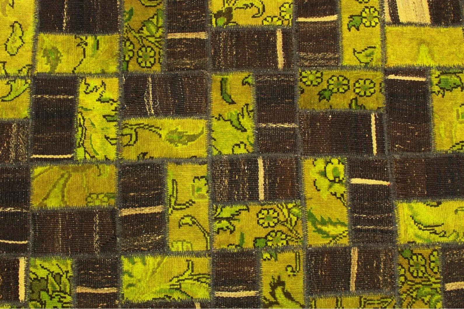 ... Patchwork Teppich Braun Gelb In 210x160cm (1/4) ...