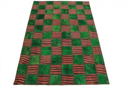 Patchwork Teppich Grün Rot in 240x160cm
