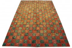 Patchwork Teppich Orange Grün in 260x170cm