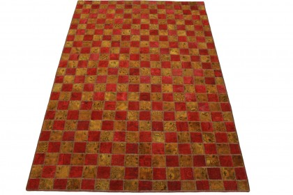 Patchwork Teppich Rot Curry in 260x170cm