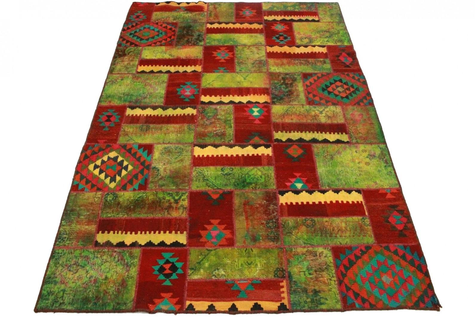 Patchwork Teppich Grün Rot in 300x200cm (1 / 5)
